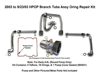03 04 6 0l Powerstroke Hpop Oil Branch Tube Oring Kit Pensacola